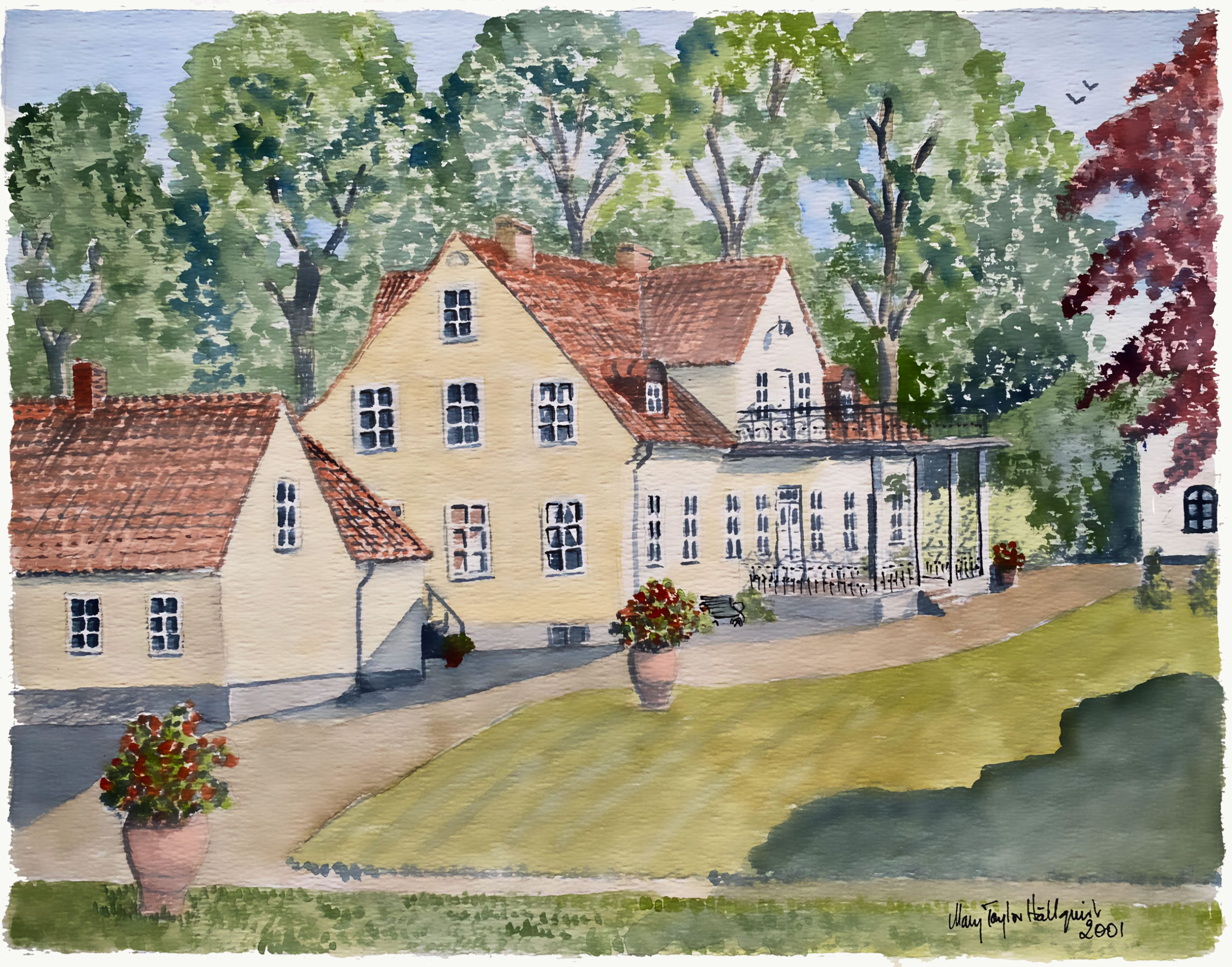Borrby Kungsgård - watercolor by Mary Taylor